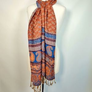 Rising tide gorgeous colorful fringed scarf India